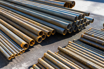 rolled metal pipes
