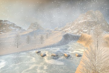Winter, a snowy landscape, a frozen river, stones, trees and a foggy background.