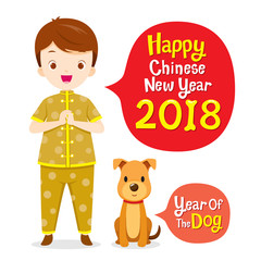 Boy In Chinese Clothing With Dog, Chinese New Year, Year Of The Dog, Traditional Celebration, China, Spring Festival, Animal