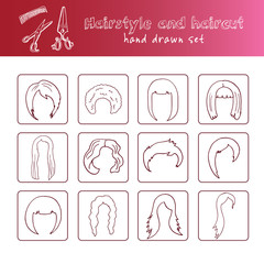 Hand drawn doodle hairstyle and haircut set.