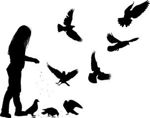 girl feeding doves isolated on white