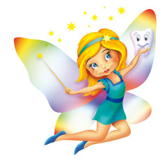Illustration of a cute little Tooth Fairy flying, blond hair girl character with magic wand