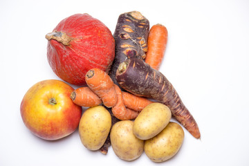 healthy vegetables on white background