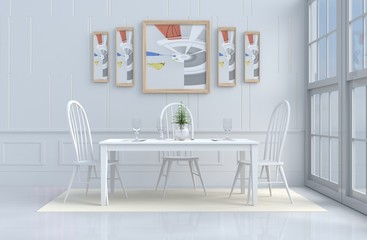 White eating room decorated with tree in vase glass,white chair and desk,window,flower,fork,spoon,wine