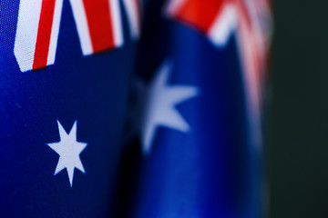 closeup of some australian flags