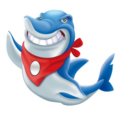 Angry blue shark mascot cartoon character with red bandana