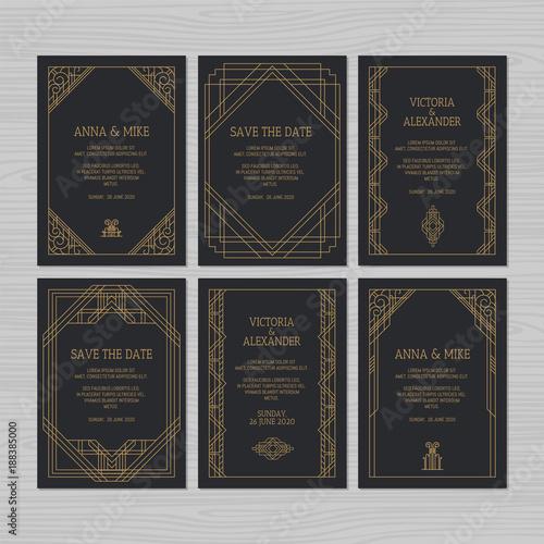 Luxury wedding invitation or greeting card with geometric ornament luxury wedding invitation or greeting card with geometric ornament art deco style vector illustration stopboris Gallery