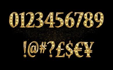 Gold glittering metal alphabet.