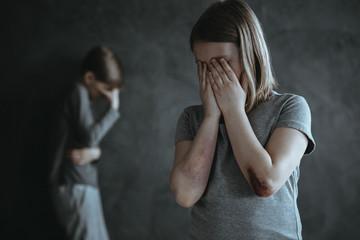 Girl and boy crying