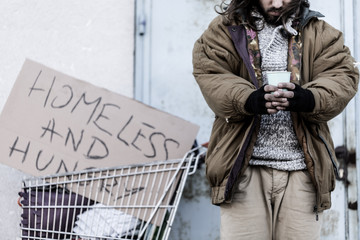 Homeless and hungry vagrant