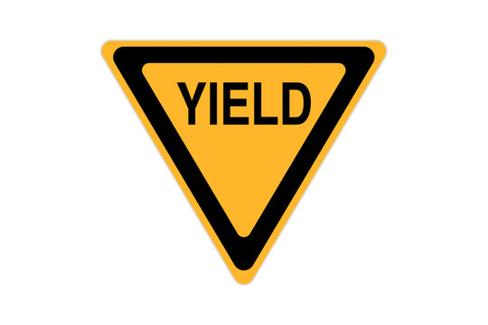 yield icon sign black and yellow isolated on white background
