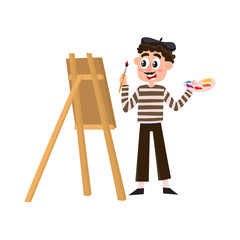 French painter, artist having mustache, striped shirt and beret, cartoon vector illustration isolated on white background. Typical, stereotypical French artist, painter in beret holding brush