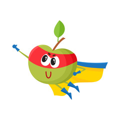 vector flat green apple character in yellow cape, red mask flying like superman. Isolated illustration on a white background Stylized humanized fruit and vegetable super hero protecting people health