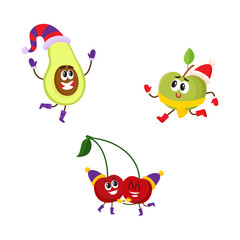 Vector flat winter fruit characters icon set. Happy apple character running pear dancing, cherry having fun in party hat. Isolated illustration on a white background