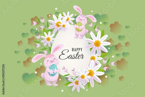 Horizontal Easter Sale Banner Postcard Card With Egg Shaped Center