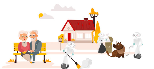 Robots doing housework taking garbage out, walking dog, sweeping while people relax and do nothing, flat cartoon vector illustration isolated on white background. Robots free people from housework