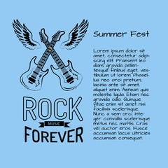 Rock Music Forever Summer Fest Vector Illustration
