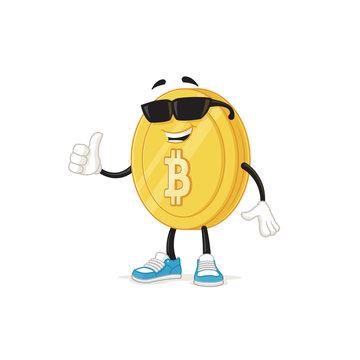 Cool Bitcoin mascot with sunglasses showing thumb up vector cartoon illustration