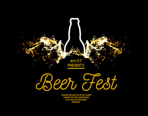 Beer fest. Splash of beer with bubbles on a black background. Vector illustration with a silhouette of a bottle