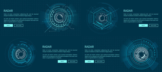 Set of Exact Radar Templates Vector Illustration