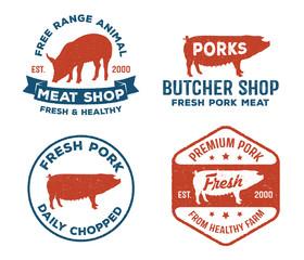 vintage retro vector label badge design set of farm, pork, pig meat, butcher in red and blue color