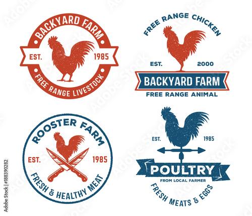 vintage retro vector label badge design set of farm, poultry