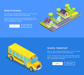 Road to School Through Cottage Town and Yellow Bus