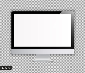 New Realistic Computer Monitor with White Screen Isolated on Transparent Background. Can Use for Template Project, Presentation. Electronic Gadget, Device Mockup Mac. EPS 10