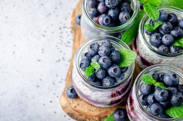 Chia pudding with blueberry and jam