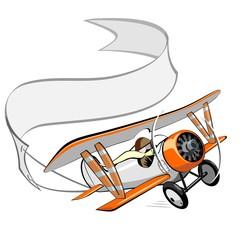cartoon biplane with blank banner