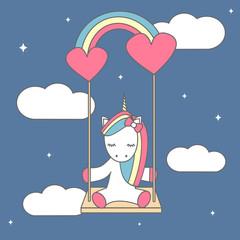 cute cartoon vector illustration with lovely unicorn sitting on a rainbow swing