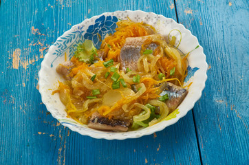 Herring in carrot and onion marinade