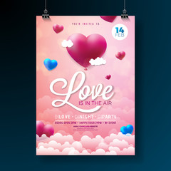 Vector Valentines Day Party Flyer Design with Typography and Balloon Heart on Cloud Background. Love is in the Air Celebration Poster Template for Invitation or Greeting Card.