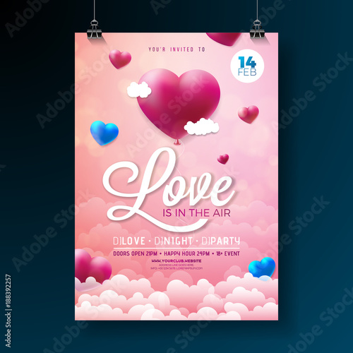 Vector Valentines Day Party Flyer Design With Typography And Balloon Heart On Cloud Background Love