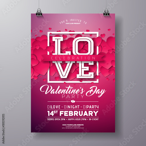 Vector Valentines Day Party Flyer Design with Love Typography