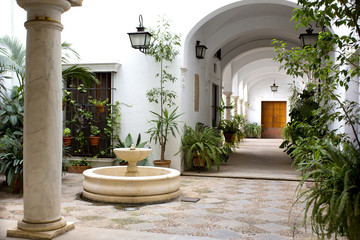 Beautiful view of a traditional patio in Seville