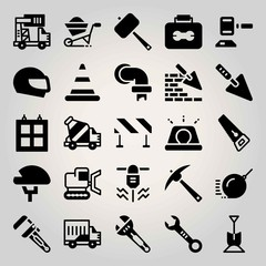 Construction vector icon set. pick, wrench, wheelbarrow and auction