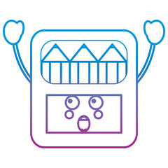 pencils in box kawaii character vector illustration blue and purple line design