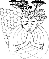 Black and white drawing of a praying person with closed eyes, spiral on forehead and African theme.