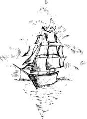 Illustration of a ship at sea. Sailboat drawn in a rhombus.
