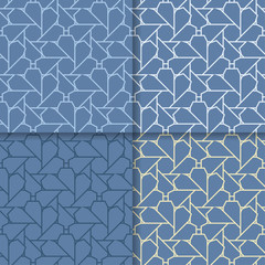 Geometric blue background. Abstract seamless wallpaper. Colored set