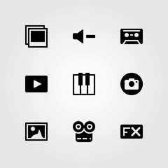 Multimedia vector icons set. volume, video player and fx