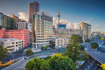 Poster de jardin Océanie Auckland. Aerial cityscape image of Auckland skyline, New Zealand during summer day.