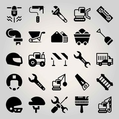 Construction vector icon set. helmet, repair tool, wheelbarrow and coal
