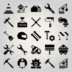 Construction vector icon set. coal, paint brush, barrier and pipes