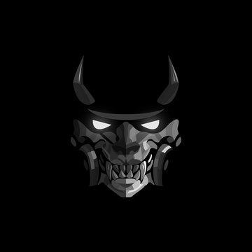 Demon mask of the samurai with luminous eyes