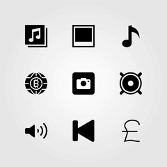 Buttons vector icons set. musical note, coin and photo camera