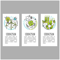 Ecology, green technology, organic, bio. Vector cartoon banner set with thin line icons