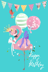 Cute flamingo pink baby princess exotic bird with crown, tied bow and balloons, festive flags and hummingbird. Happy Birthday card
