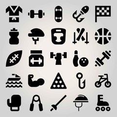 Sport vector icon set. fencing, basketball, dumbbell and ball